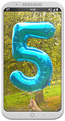 Phone with 5 balloon